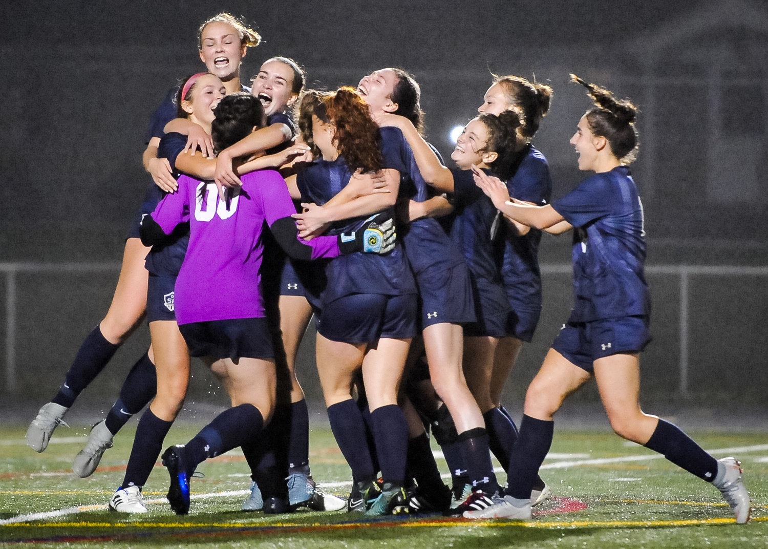The Falcons celebrated the winning penalty that put them past Broadneck and into the state tournament. Severna Park (17-1) has 16 shutouts and will make its first state tournament appearance since 2011.