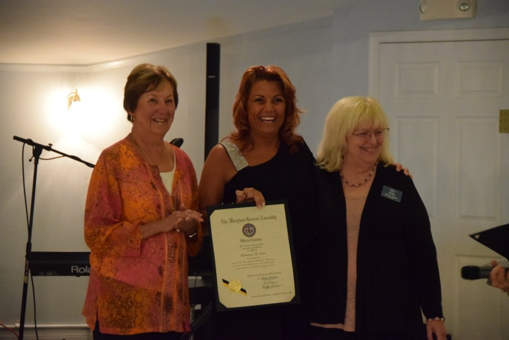 Partners In Care recently held its 25th anniversary celebration at Kurtz's Beach. (L-R) Sandy O'Connor, Mandy Arnold and Barbara Huston accepted a citation on behalf of the Maryland General Assembly.