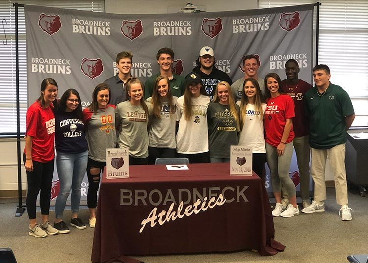 Broadneck student-athletes attended a Signing Day ceremony on November 14.