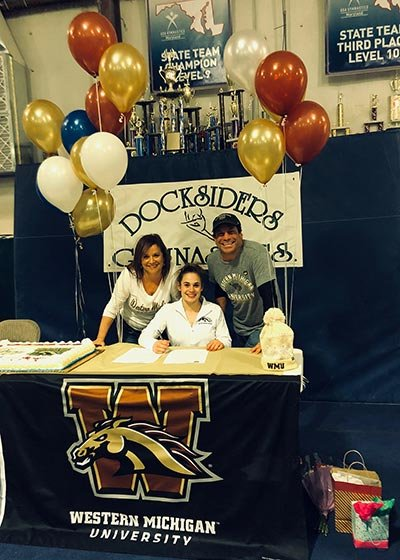 Severna Park student and gymnast Ronni Binstock officially committed to Western Michigan on a full athletic scholarship on November 14.