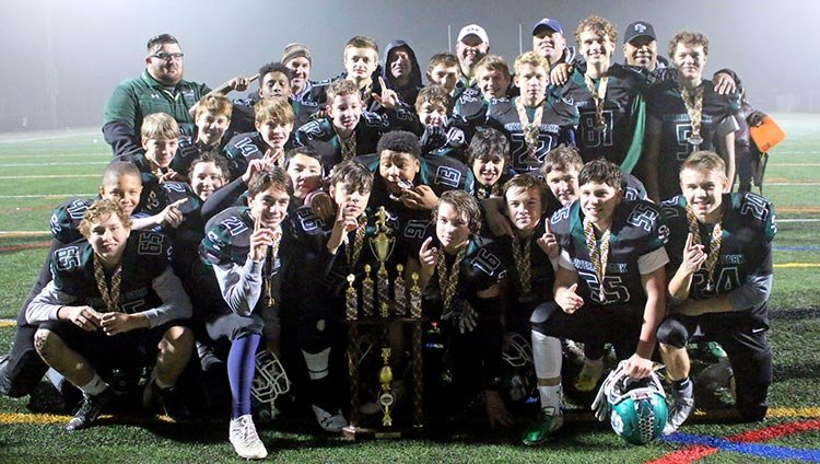 The 14U Green Hornets didn't have the strongest regular season in the win column, but they started playing their best football come playoff time. In the postseason, Severna Park reeled off four straight victories to claim an Anne Arundel Youth Football Association championship and an All-Pro Youth Football state championship.