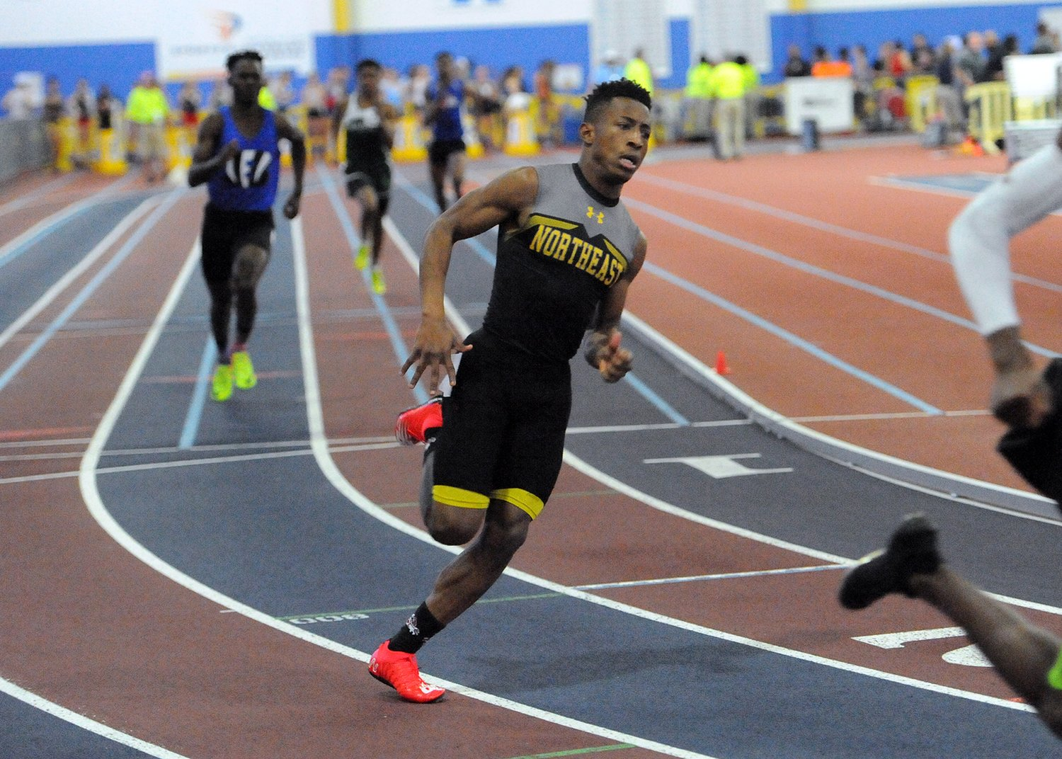 At the Maryland 4A/3A state championship meet, Davon Carroll's banner day for Northeast included a pair of state titles in helping the Eagle boys to a fifth-place finish out of 29 teams.