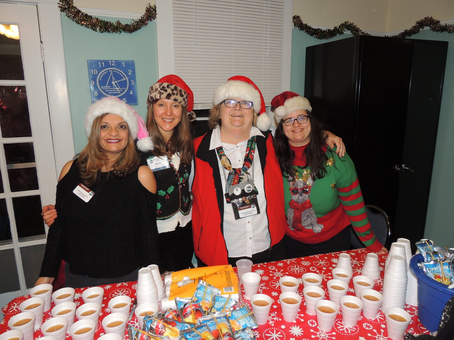 The Toast Masters of Severna Park worked the chamber's community meeting room and kept event attendees refreshed with hot cider, cocoa, cookies and other goodies.