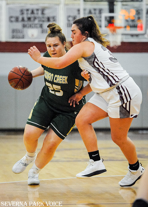 Indian Creek's Delaney Dignam attacked against Broadneck on December 17. The Eagles defeated the Bruins, 48-32, to improve to 7-1 overall.