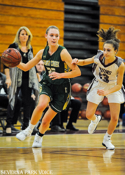 Indian Creek's Maddy Evans attacked against Broadneck on December 17. Evans had a game-high 22 points as the Eagles defeated the Bruins, 48-32, to improve to 7-1 overall.