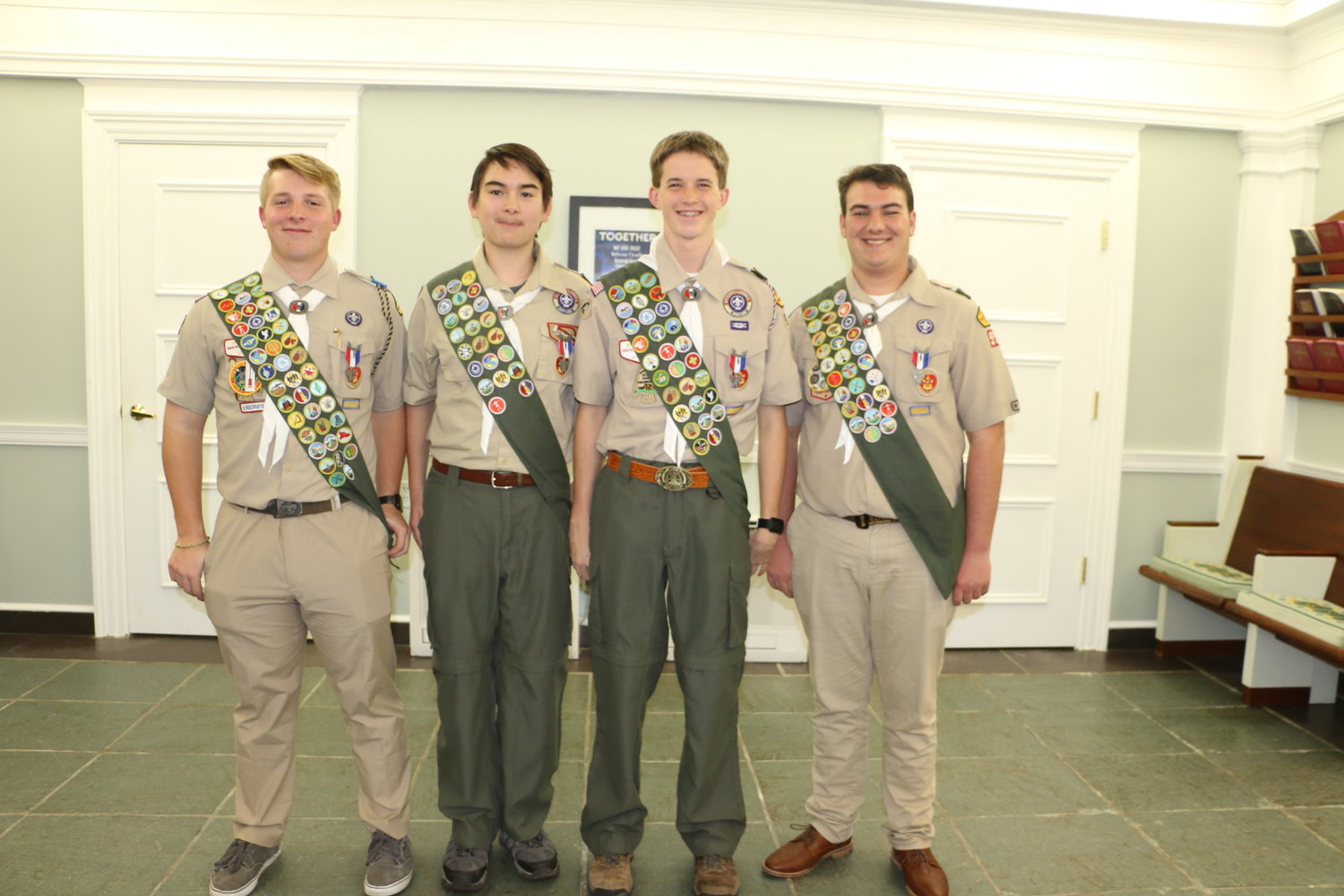 (L-R) Hunter Reeves, David Scarlett, Erick Howard and Mitch Decker recently completed projects that benefit the community as a way of working toward their status as Eagle Scouts.