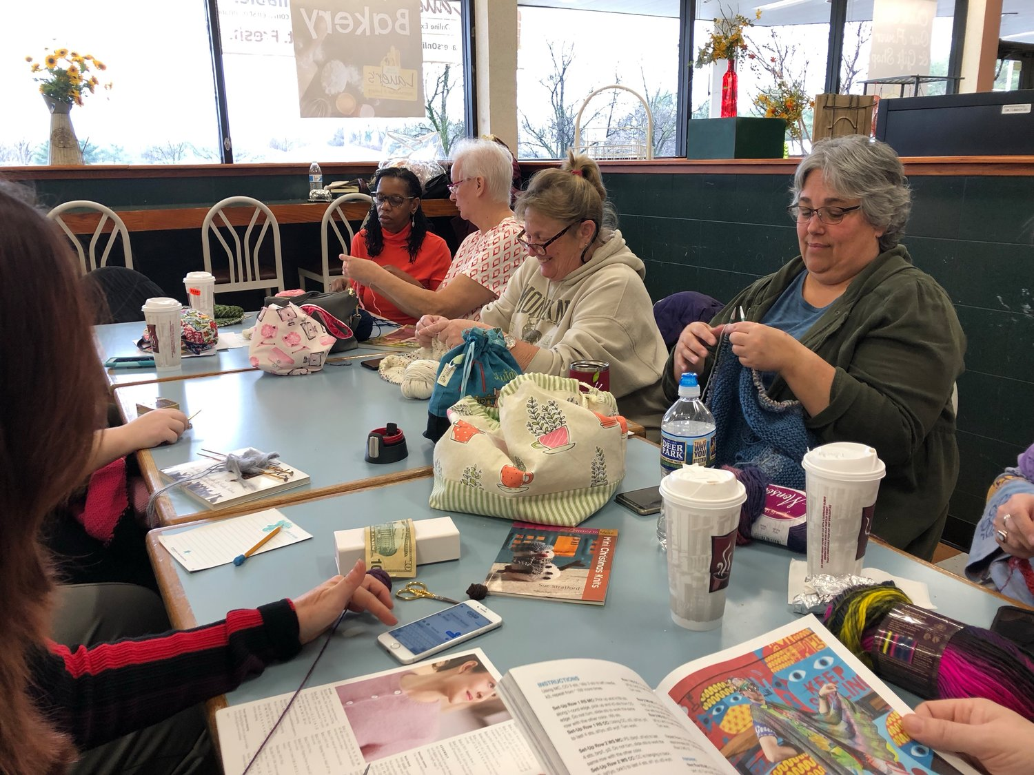 The Sit & Stitchers often take on projects where the knitters will all knit the same thing, such as the exact hat or sweater. Some members make hats, blanket squares or blankets for charities.