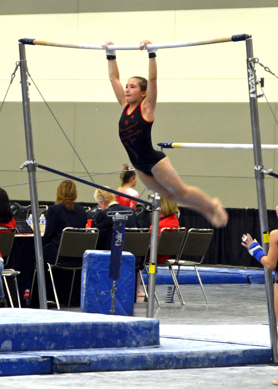 Isabella Haskell competed in bars at the annual Christmas on the Chesapeake meet in Baltimore in December. Over 2,000 gymnasts attend the meet. Haskell placed in the top seven in bars, beam and floor exercise.