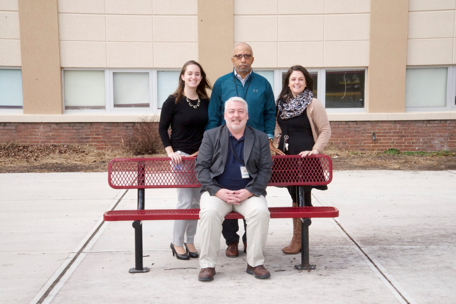 George Fox Middle School Principal Russ Austin sat with the three assistant principals: Rebecca Donovan, John Nunn and Lindsay Drager.
