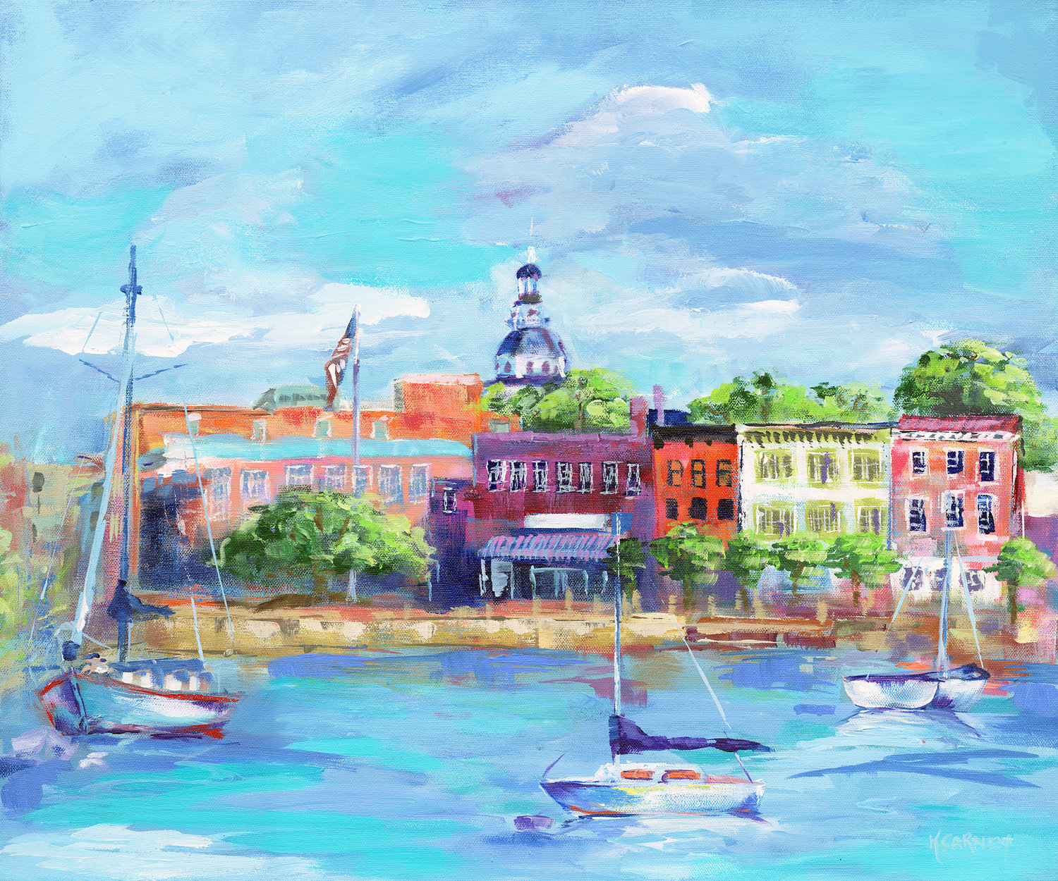 "Katherine Carney will feature ""Annapolis City Dock"" and two other paintings in the show at Gallery 564."
