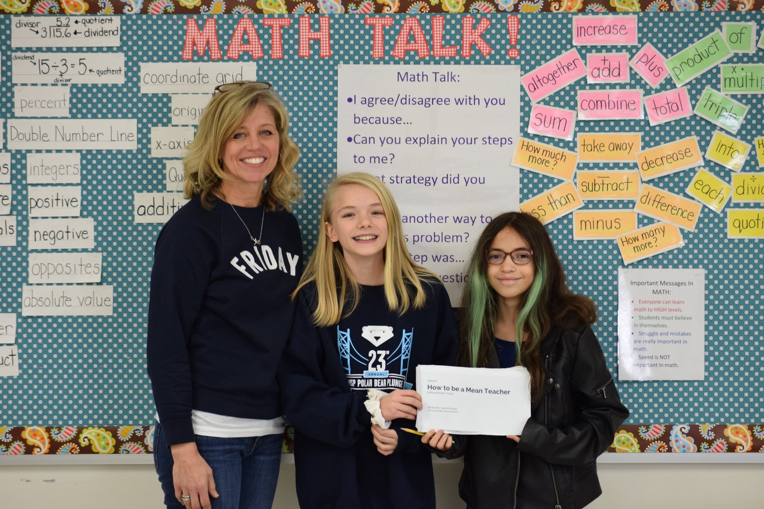 "Sixth-graders Jeanine Rangel and Anna DuPont wrote a book called ""How to be a Mean Teacher,"" which was inspired by a worksheet they did in Kathleen Plitt's math class."