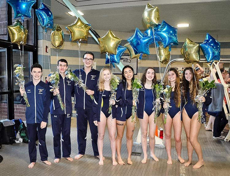 Severna Park senior swimmers (l-r) Patrick Damanti, Kyle Cannon, Matthew Dalton, Allyson Lee, Sophia Dutton, Chloe Wright, Allison Troy and Madison McNutt competed on January 25 against Broadneck, South River and Old Mill at Arundel Olympic Swim Center. The Falcons will swim at the county championship meet on February 8.