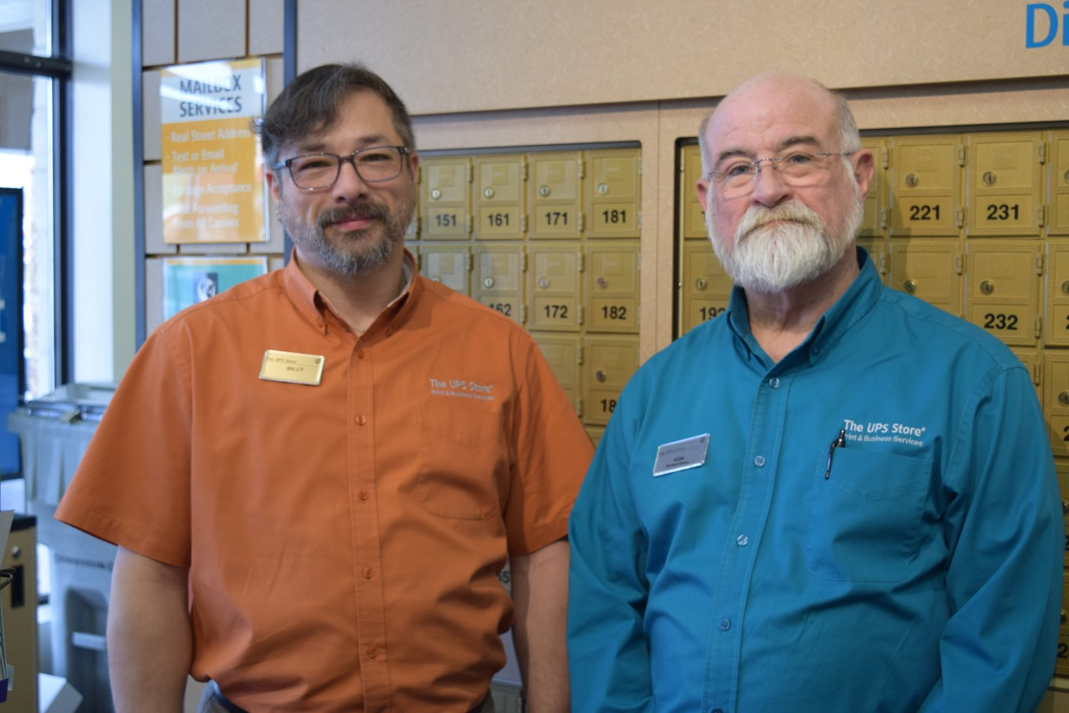 Billy Garver (left) and Ken Musselman (right) are co-owners of The UPS Store in Lakeshore Plaza.
