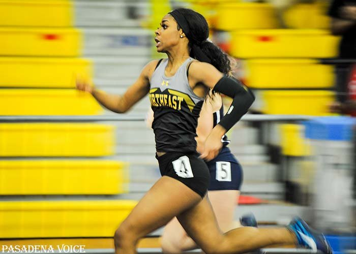Northeast's Christal Pommells became county champion in the 55 meter dash.