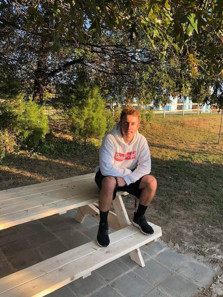 For his Eagle Scout project, C.J. Snyder helped build a patio and picnic benches where Orphan Grain Train volunteers can relax and enjoy meals outdoors.