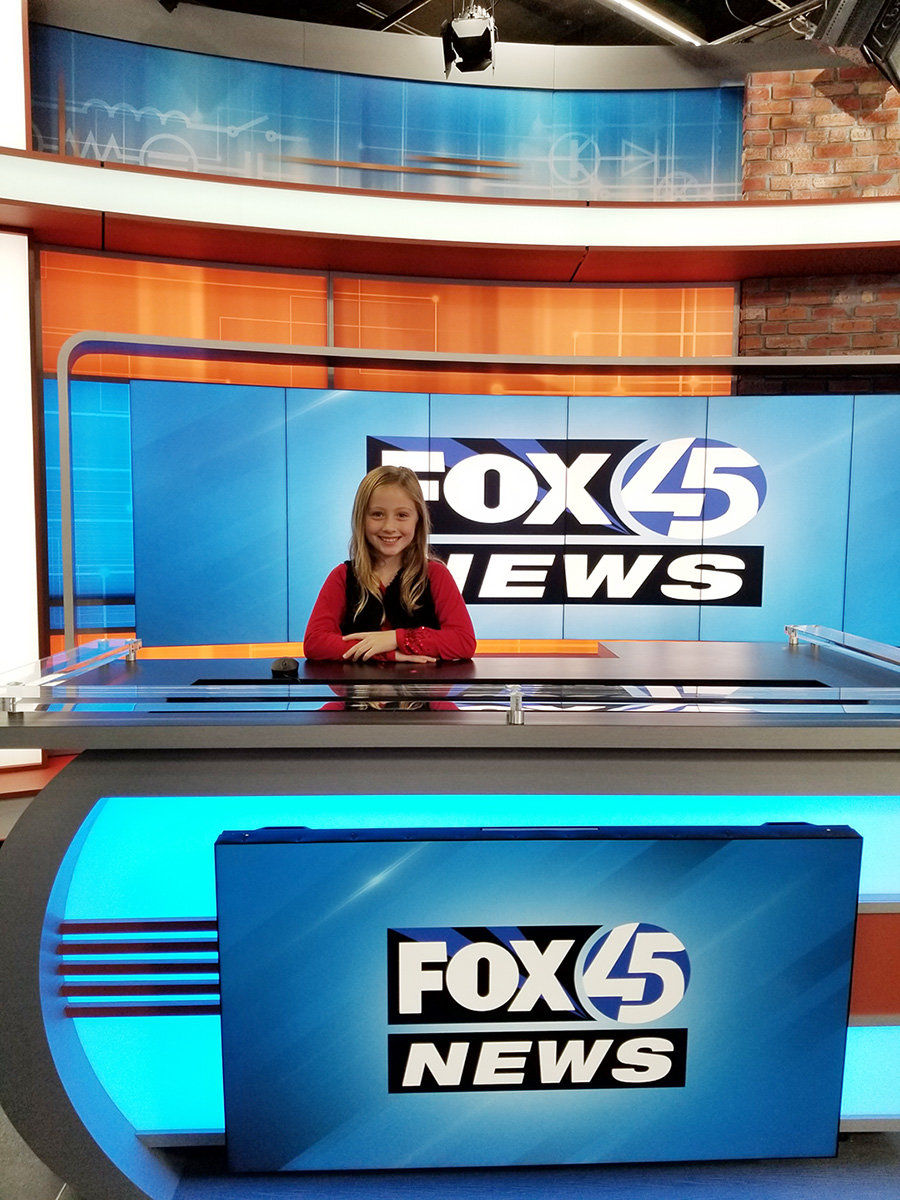 Regan Graves was one of 12 kids to broadcast a segment on Fox45 after winning the Chick-fil-A kids correspondent contest.