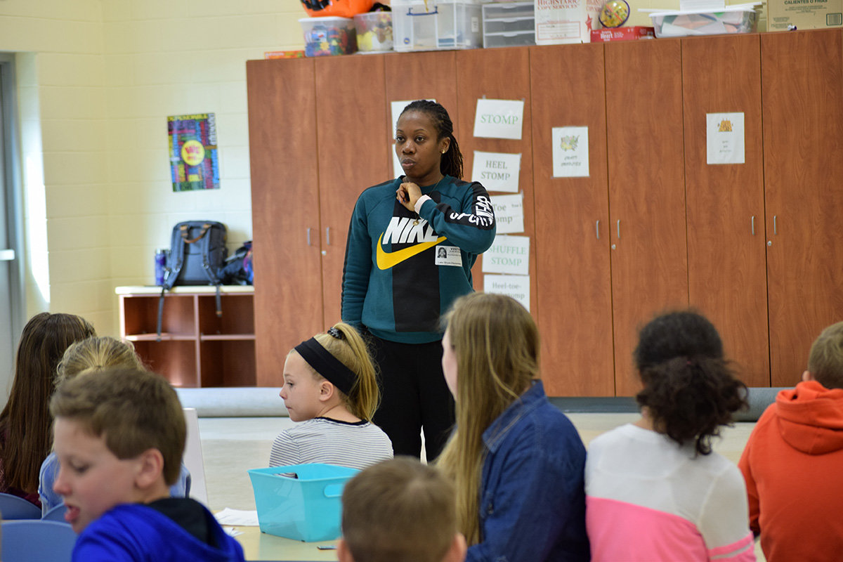 Artist-in-residence Quynn Johnson spent a week at Lake Shore Elementary teaching the objectives of tap dance.