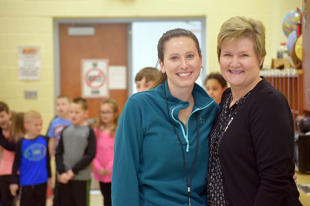 LSES fifth-grade teacher Jamie Wilder (left) invited her mom Patricia Wilder to watch the tap dance performance.