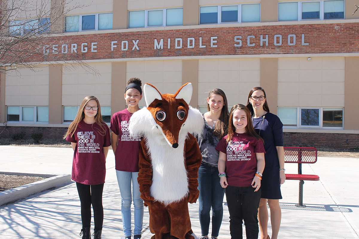 During a parent-teacher conference day in March, new George Fox Middle School Principal Glenna Blessing spent time with members of the school's Student Government Association.