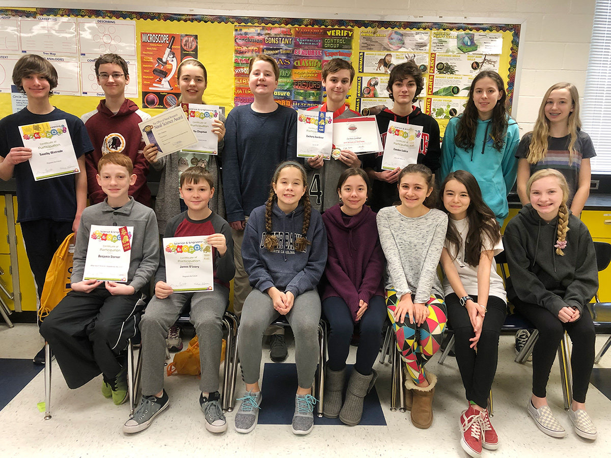 Magothy River Middle School had 15 students place or receive honorable mentions at the Anne Arundel County Regional Science and Engineering Expo.