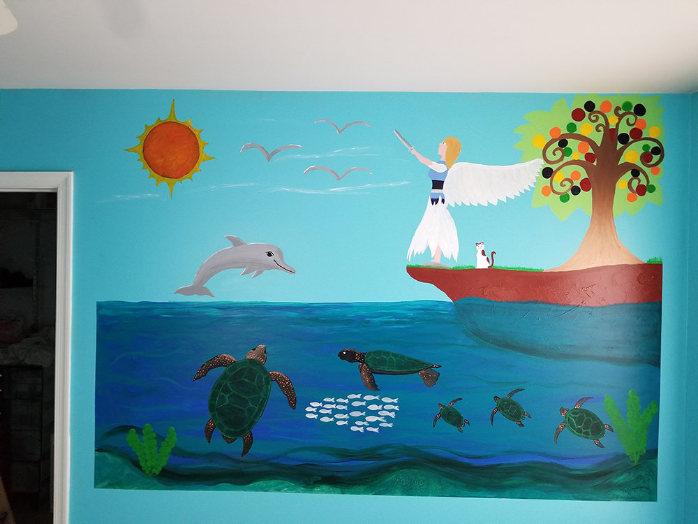 Briah Ryan was commissioned to create a wall mural for a little girl's room.
