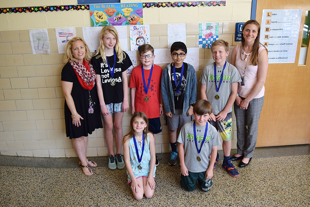 Severna Park Elementary students received medals for completing all three marking periods of the Bobcat Book Club.