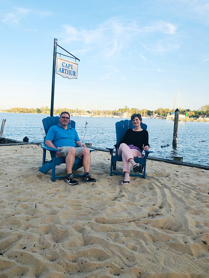 Brian Johnson and Mary Patz are among the Cape Arthur residents who enjoy Arundel Beach as a community gathering place.