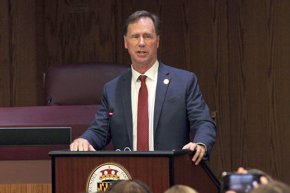 County Executive Steuart Pittman discussed underfunded departments and services during his budget address at the Arundel Center in Annapolis on May 1.