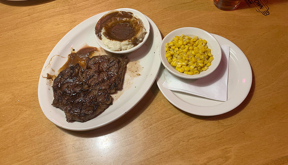The 10-ounce Fort Worth ribeye steak was juicy but lukewarm.