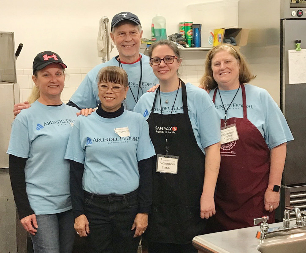 Once a month, a team of four to five Arundel Federal volunteers participates in the Feeding the Hungry program at Harundale Presbyterian Church in Glen Burnie.