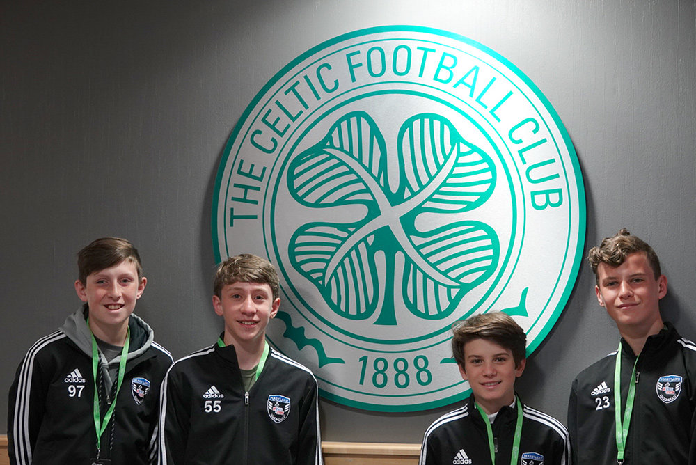 (L-R) Jordan Lovejoy, Brayden Wedlake, Nicky Melfi and Declan Karney toured Celtic Stadium in Glasgow, Scotland.