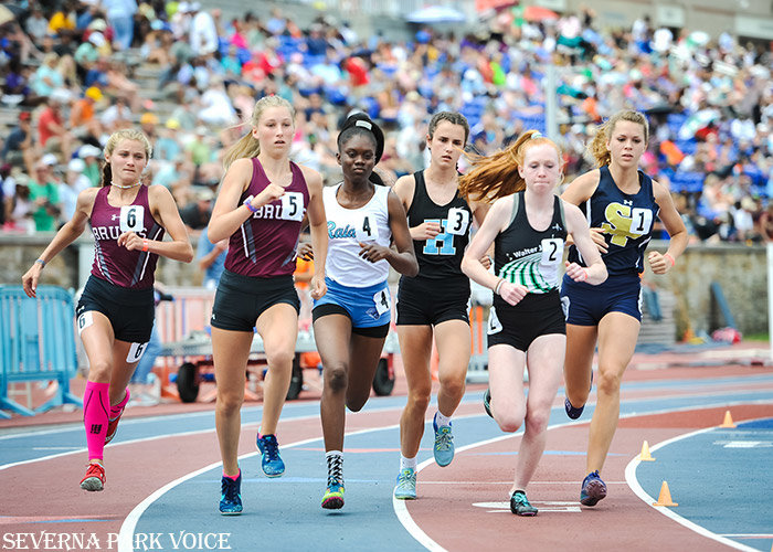 Severna Park's Emily Knight (1) won the 1600 meter state final on May 25, using a late kick to close the gap and ultimately overtake Howard's Amanda Eliker (3) and Walter Johnson's Ella Gaul (2) to win the 4A state championship. Broadneck's Mollie Fenn (6) and Anna Janke (5) also made it to the 1600 final; Fenn, a freshman, was the 3200 meter 4A state champion on May 24.