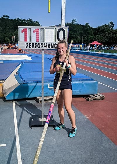 Sarah Adams cleared 11 feet to become the 4A state champion in pole vault for Severna Park.