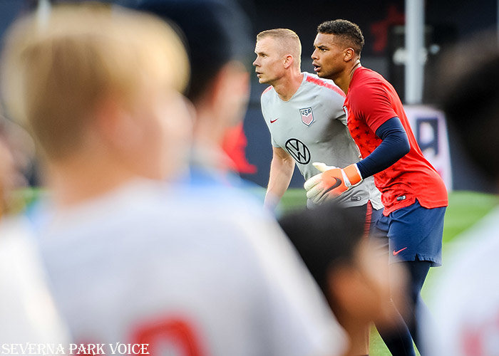 Goalkeeper Zack Steffen and a coach warmed up with drills prior to the USMNT's friendly against Jamaica on June 5.