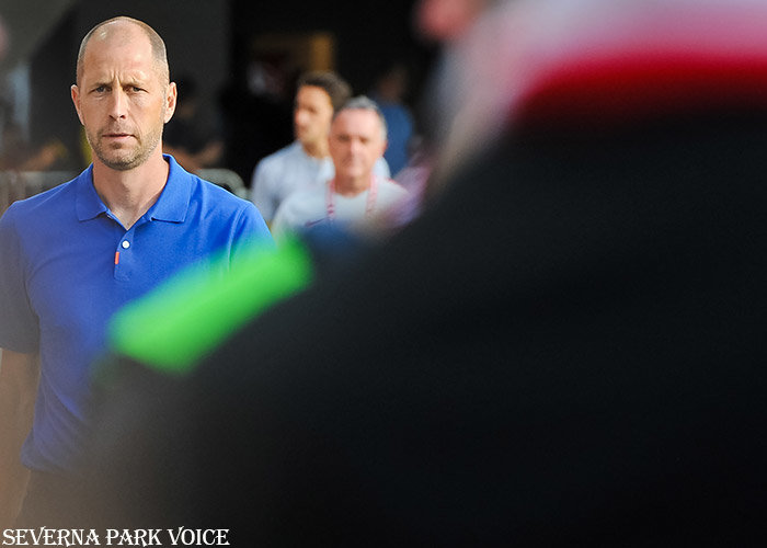 New U.S. coach Gregg Berhalter walked to his position on the sideline prior to his team's friendly against Jamaica on June 5.