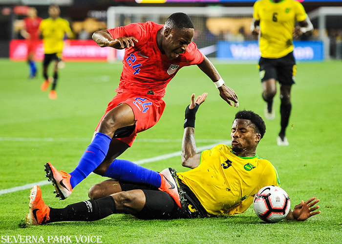 The United State's Jonathan Amon had the ball tackled away by Jamaica's Alvas Powell during an international friendly on June 5. The USMNT finalized its roster for the Gold Cup, which begins on June 18.