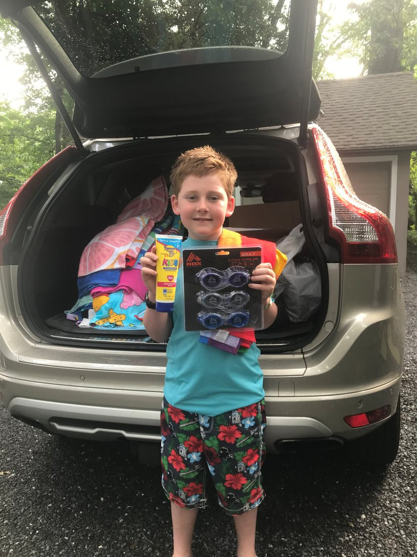 SPES student Rowan Hickey collected donations for Camp St. Vincent in Baltimore.