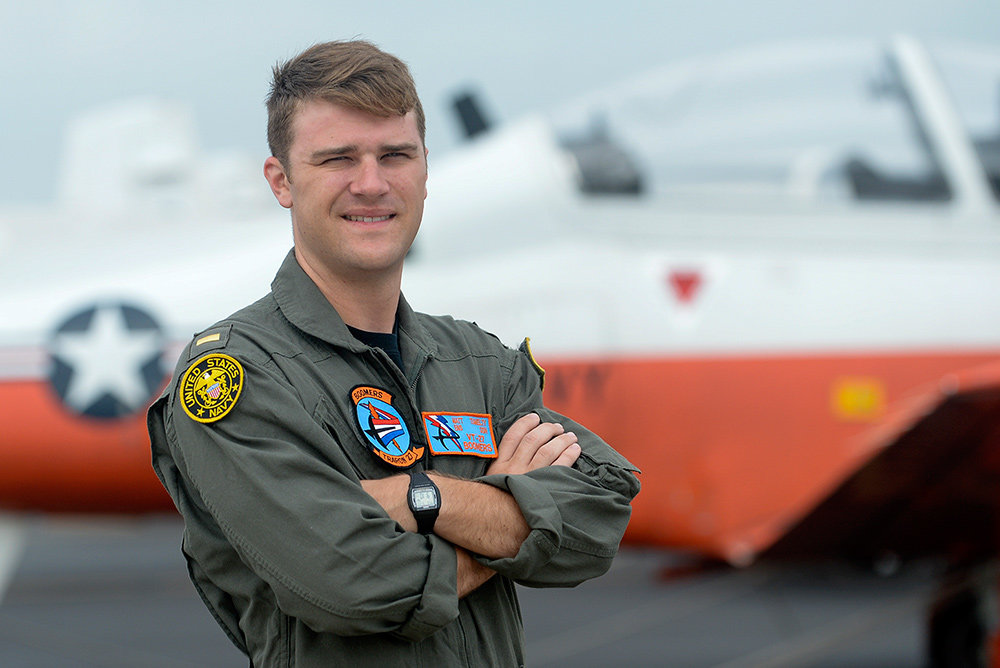 "Ensign Matt Tumelty is a student pilot with the ""Boomers"" Training Squadron VT-27, based in Naval Air Station Corpus Christi in Texas."