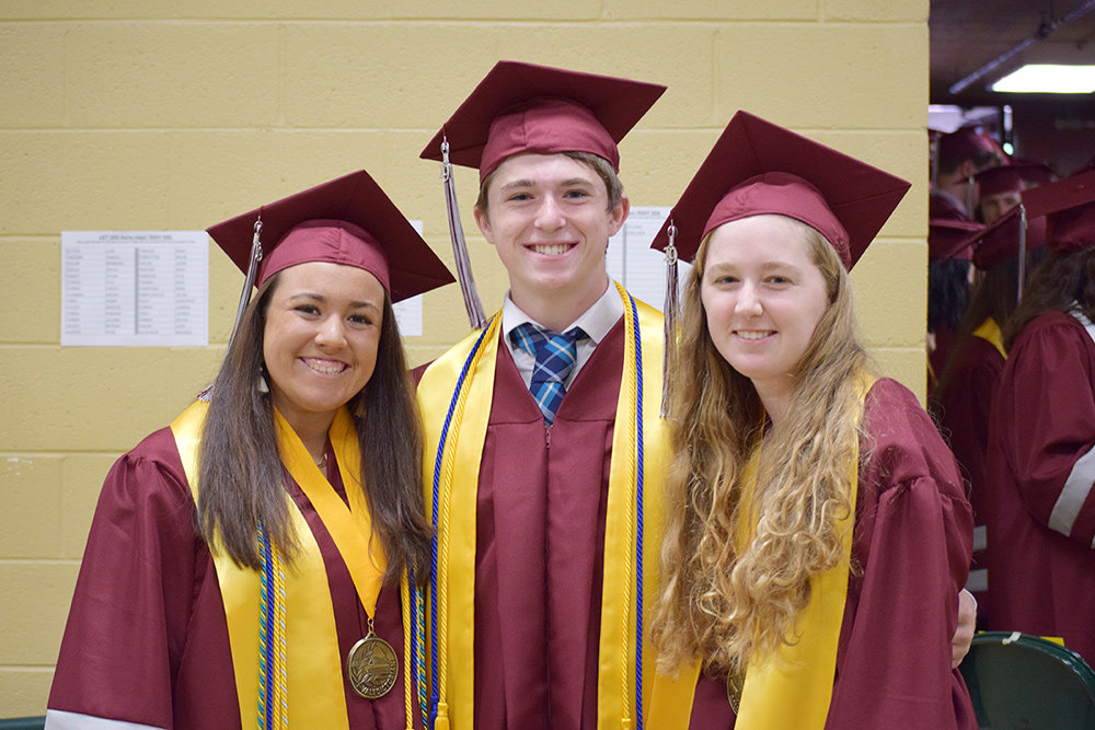 Meghan Figueras, left, graduated as the valedictorian of the Broadneck High School class of 2019. She is pictured here with salutatorian Emma Snead (right) and senior class speaker John O'Brien Jr.