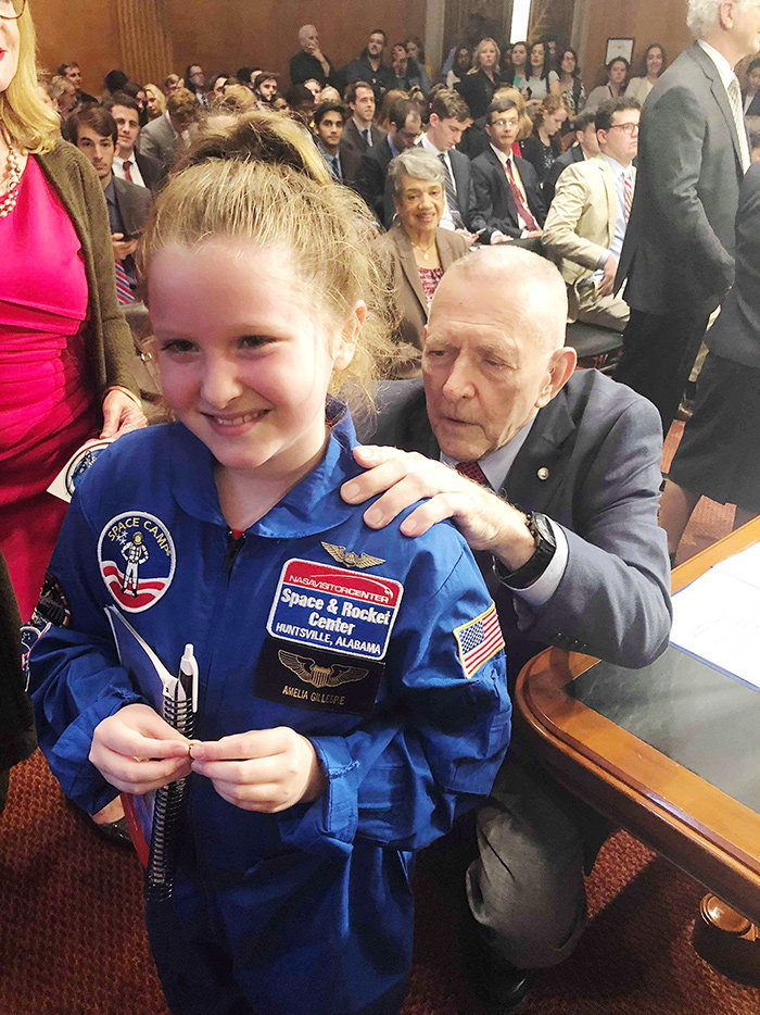 Amelia Gillespie attended a Senate subcommittee meeting in July, when she met Eugene Kranz, a former NASA flight director who led the Apollo 11 and 13 missions.
