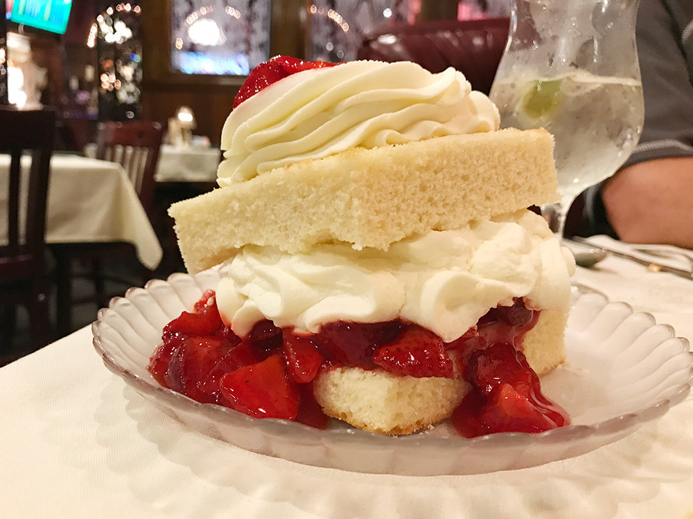Strawberry shortcake makes a sweet end to a meal at Sunset Restaurant.