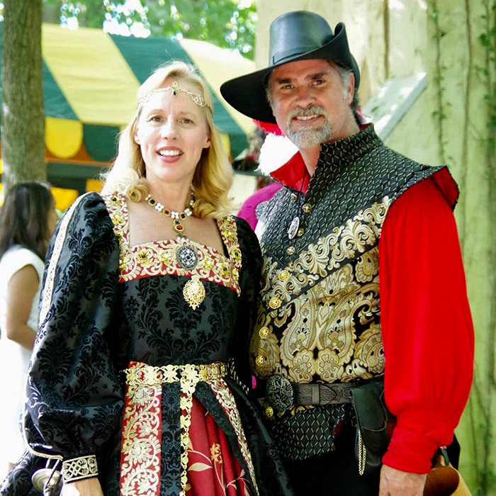 Mary Ann Jung is the Royal Court director and the director of Shakespearian language and history for the Maryland Renaissance Festival. Tom Plott is the performance director and the director of the fight corps.