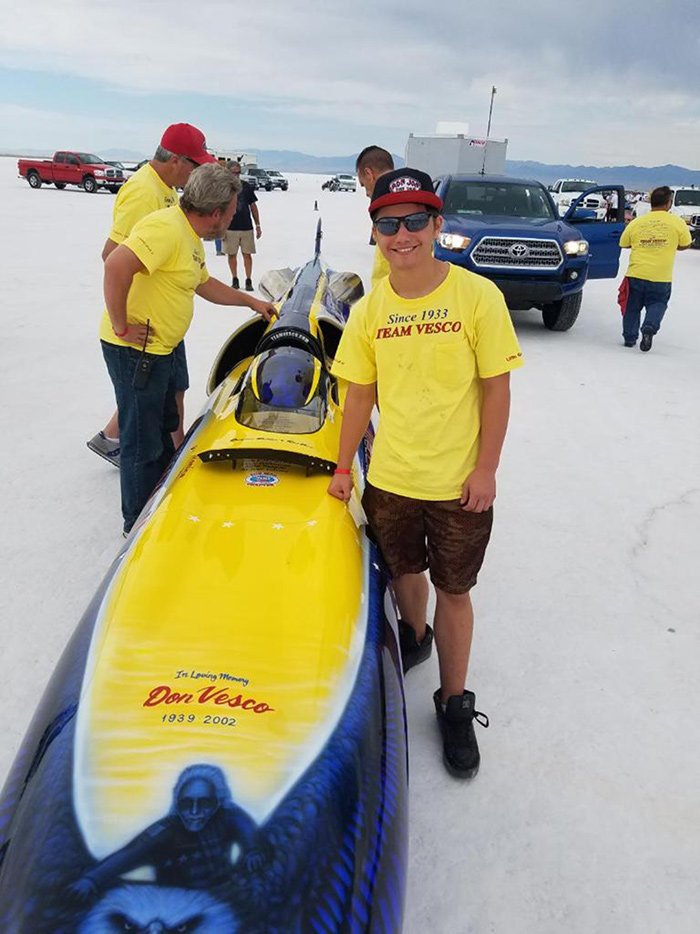 Chris Brosseau and his son, Jeremy, enjoy spending time together at Speed Week each year at Bonneville Salt Flats.