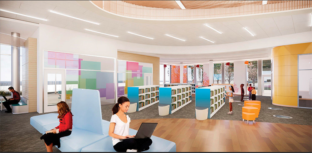 In the main part of the library, the design is intended to be a timeless and abstract underwater theme with the main feature being the oval wood ceiling, representative of the bottom of a boat.