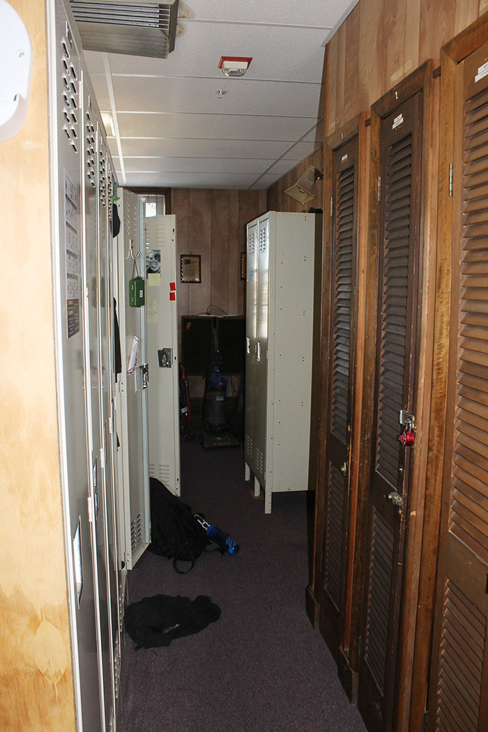 Volunteers have the use of lockers in a tight space, although some volunteers don't have a locker.