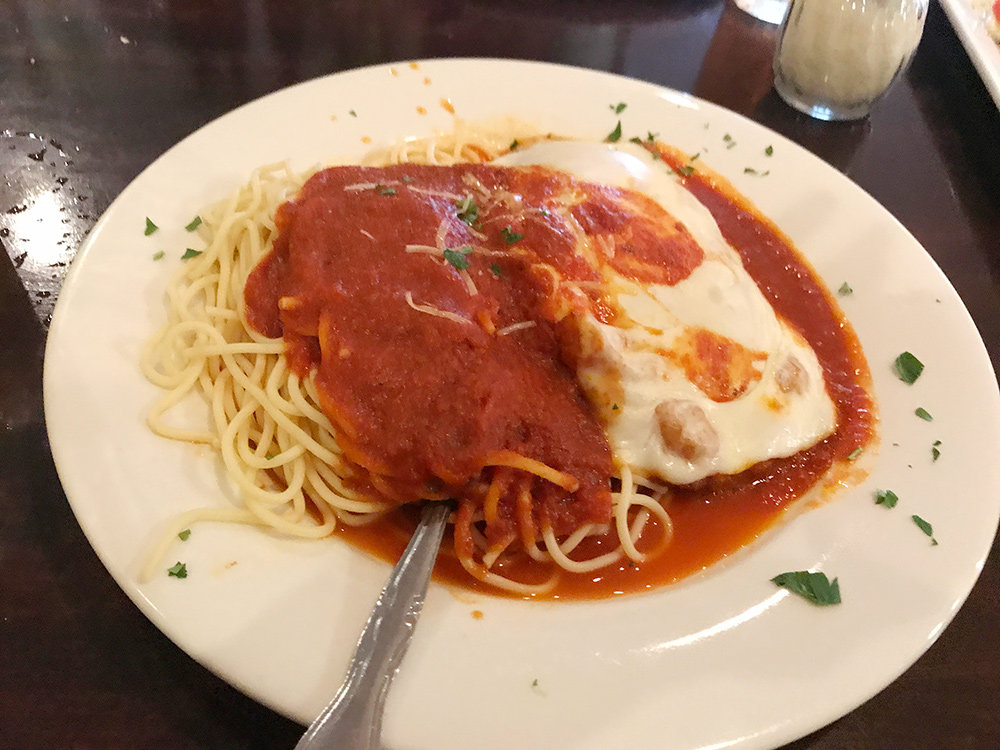 Try the chicken parmigiana. The indulgent taste of the chicken was incredibly satisfying and buried under a thick, bubbly layer of cheese.