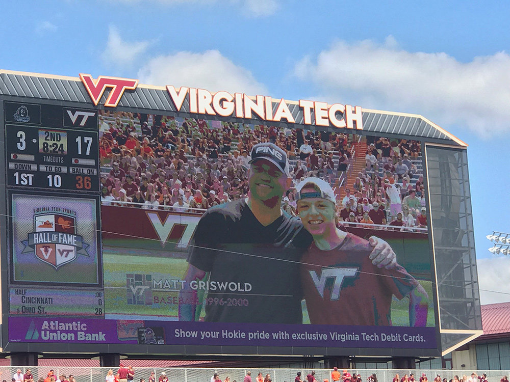 Matt Griswold and one of his nephews, Severna Park High School senior Drew Griswold, were introduced to fans at halftime of the Virginia Tech-Old Dominion football game on September 7.