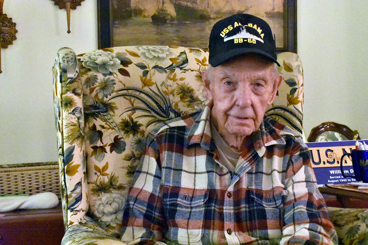 William Hahn, 96, reflected on his time aboard the USS Alabama in World War II.