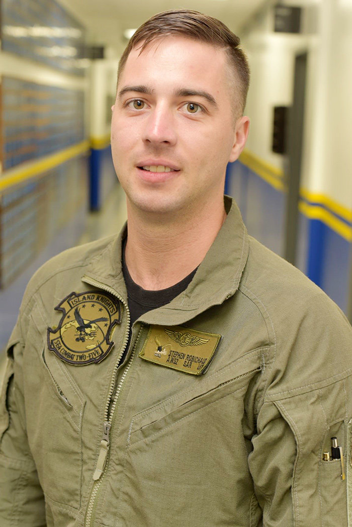 Along with being a naval air crewman, Stephen Robichaud is a naval rescue swimmer. He is responsible for conducting search-and-rescue missions and medical evacuations.