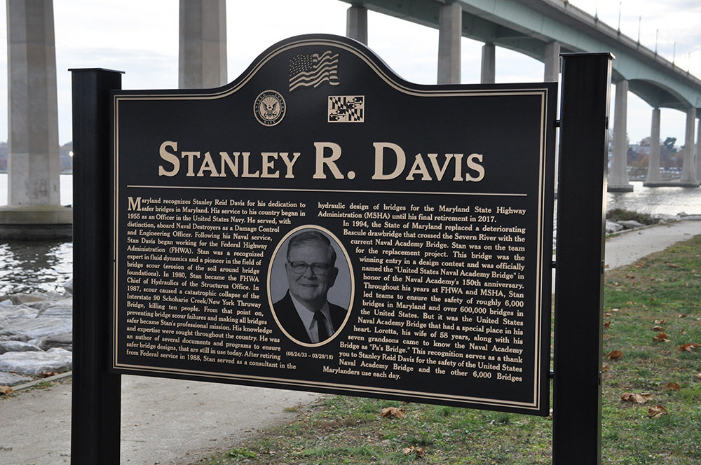 A plaque at Jonas and Anne Catharine Green Park honors Stan Davis, who dedicated his life to making bridges safer.